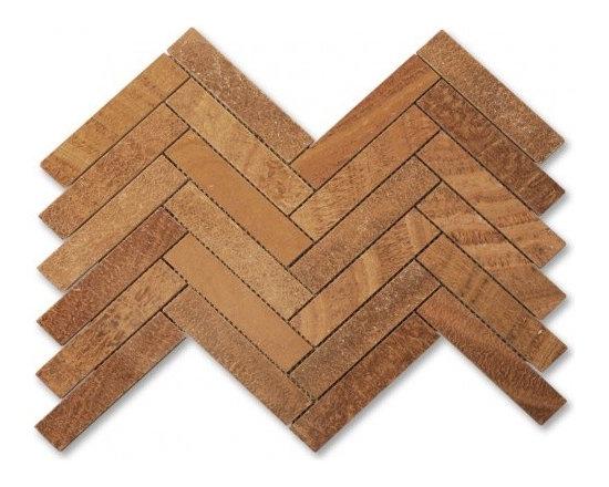 Large herringbone stone mosaic tile - Wood onyx large herringbone stone mosaic