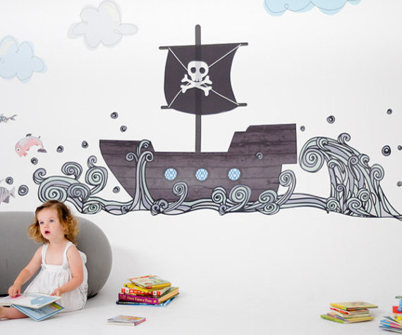 Pirate Boat Reusable Fabric Wall Decals By Pop & Lolli eclectic-decals