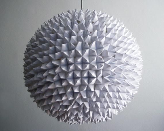 White Folded Paper Hanging Sphere Lamp by Zipper 8 Lighting contemporary-pendant-lighting