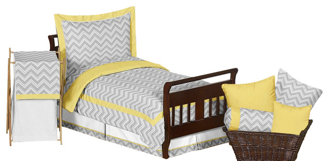 Yellow And Grey Twin Comforter Set: Zig Zag Yellow And Gray Sheet Set By Sweet Jojo Designs
