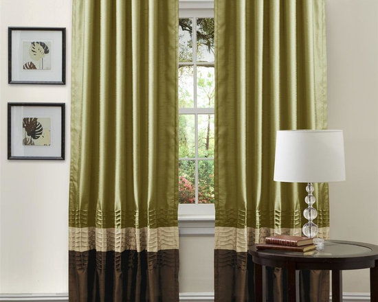 Lush Decor - Mia Apple Green Window Curtain - Set of 2 - Includes: 2 Window Panels. Fabric Content:100% Polyester. Color: Apple Green. Care Instruction: Dry clean. 54 in. x 84 in. Transform and brighten your room with this colorful faux silk window panel. The 3 colors blocks transition into each other with a series of 4 pleats giving the panel a clean and very finished look. There is a rod pocket for quick and easy installation.