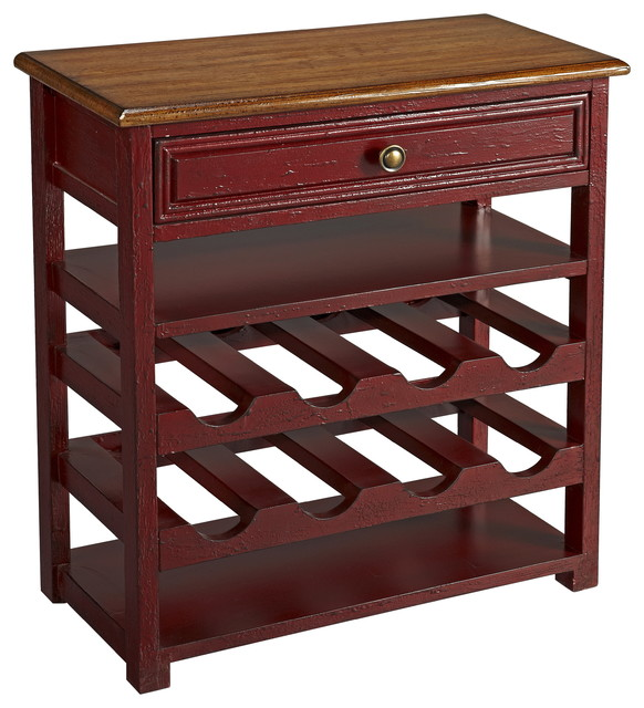 1 Drawer Wine Server, Buxton Red Finish - Modern - Wine And Bar Cabinets - by Coast to Coast ...