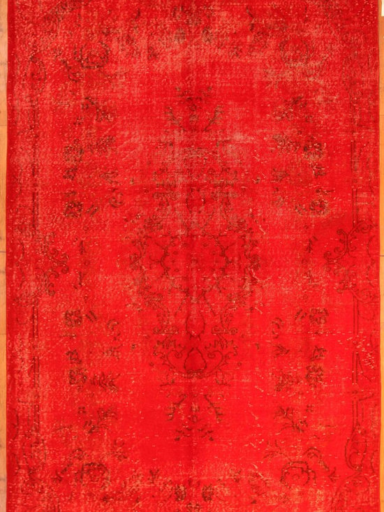 Red Overdyed Rug - Rich color with hints of underlying pattern revive well-loved vintage Turkish carpets into a truly fabulous area rug.
