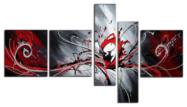 Textured Red Abstract Hand Painted Oil Painting - 5 Panels - 66 x 36 in contemporary-wall-decor