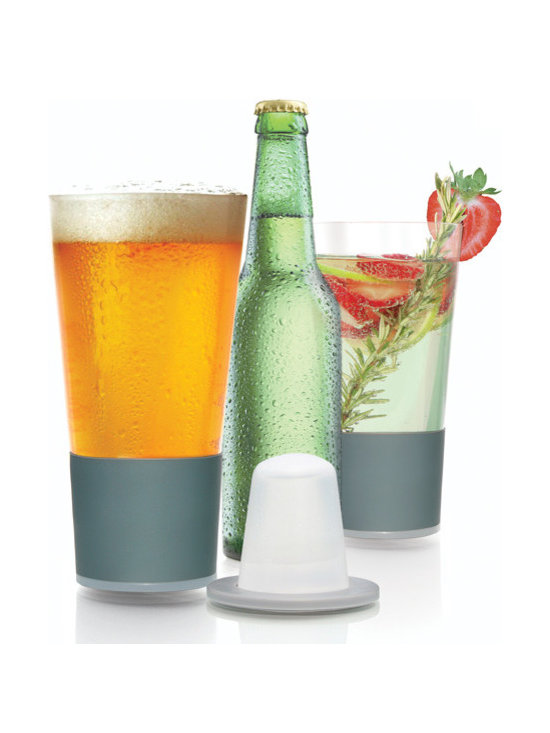 soireehome - Dimple Pint Self-Chilling Smart Glasses, Set of 2 - A pair of the first self-chilling glassware. Dimple's integrated chilling technology keeps pint-sized beverages cold to the last drop without ice diluting your drink. Simply pre-freeze the gel-filled dimples & they magnetically affix into the base of the custom designed lead-free borosilicate glassware. Dimple will revolutionize fine beverage enjoyment. This set has a classic pint-sized shape and each glass can hold up to 16oz. Grey insulating hand-grip. Two grey dimple freezing cones included