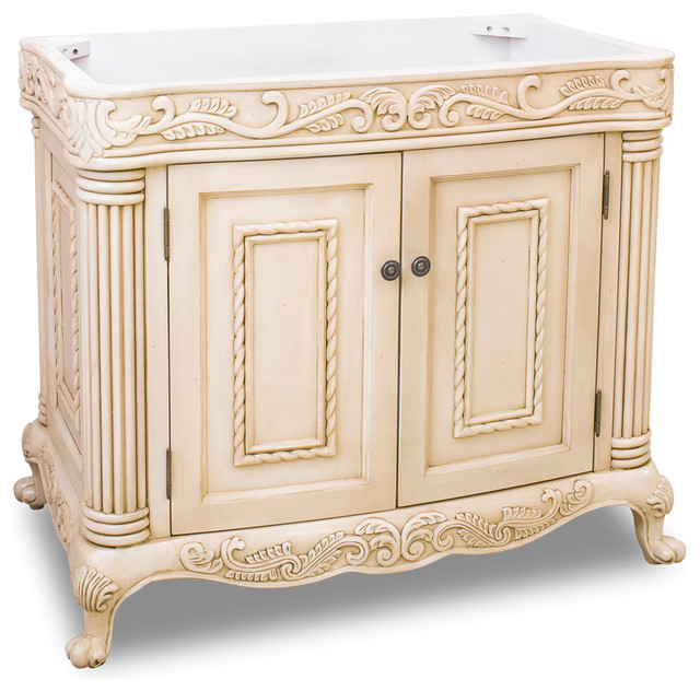Antique white ornate vanity without top traditional - Antique traditional bathroom vanities design ...