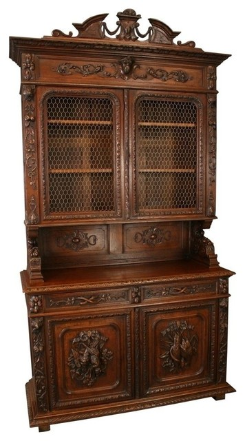 Consigned Antique French Buffet Wine Cabinet Hutch traditional-buffets-and-sideboards
