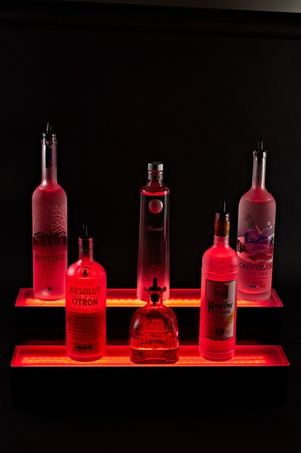 2 Tier Liquor Display LED Lighted Bottle Shelf Display ...