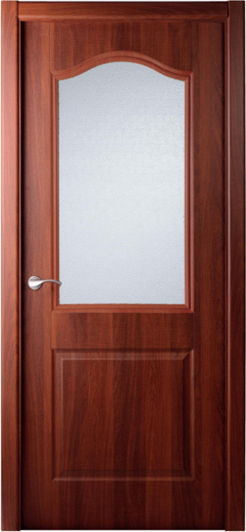 Interior single door italian nutwood with frosted glass for Single front doors with glass