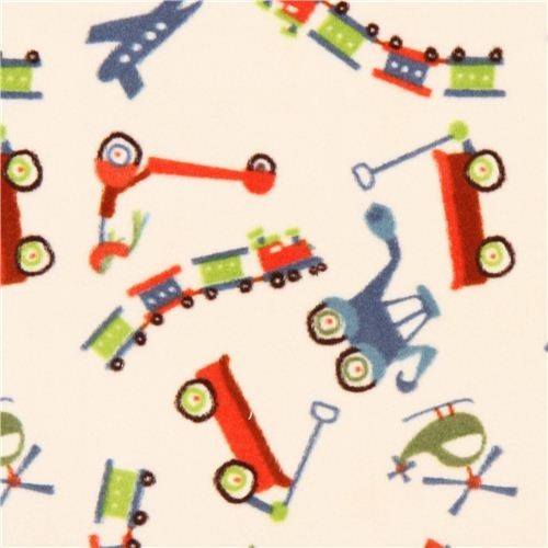 Cream train airplane minky fabric fleece plush riley blake for Train print fabric
