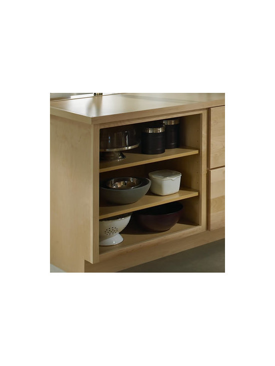 Open Shelving in Peninsula - In a peninsula, Open Shelving breaks up the solid surfaces of nearby drawers and lets you display dishes, bowls or art objects close to where people sit or stand.