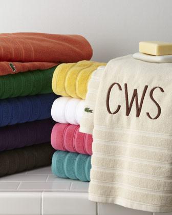 Lacoste Solid-Color Bath Towel, Plain traditional-bath-towels
