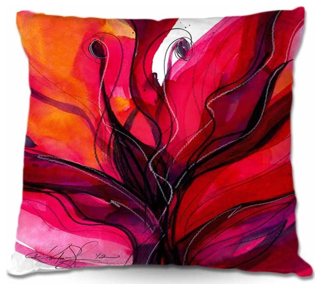 Pillow Woven Poplin from DiaNoche Designs - Soul Flower 60 contemporary-decorative-pillows