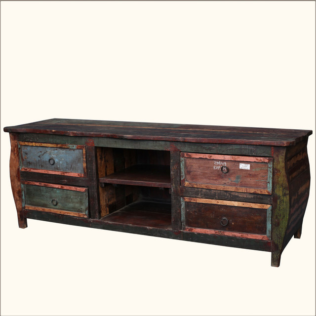 """Rustic Reclaimed Wood Media Console 65"""" TV Stand Storage Rack Drawers - Rustic - Entertainment ..."""