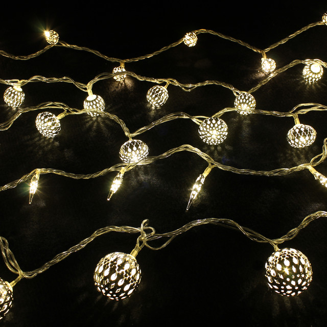 Christmas Home Decorations - Round Filigree LED Ornament Lights eclectic-holiday-lighting