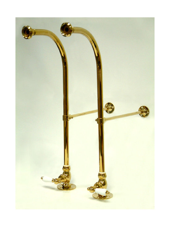 "Kingston Brass - Freestanding Water Supplies with Stop - This freestanding water supplies with stop comes in pairs and includes adjustable height wall braces. They are constructed of high quality brass to ensure reliability and durability. Its premier finish resists tarnishing and corrosion.; Beautiful premier finish; 13-3/4"" wall clearance; Adjustable height wall brace; 1/4-turn ceramic disk cartridge; Fine artistic craftsmanship; Material: Brass; Finish: Polished Brass Finish; Collection: Vintage"