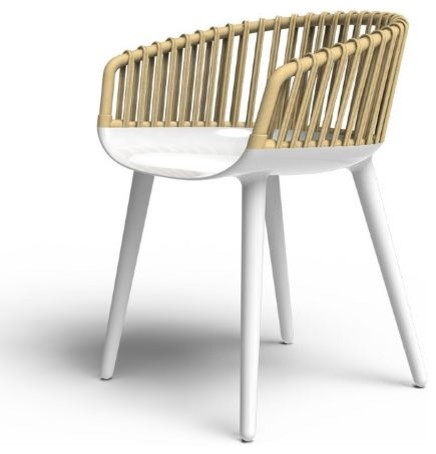 Magis cyborg club chair white frame natural wicker back for Marcel wanders stuhl
