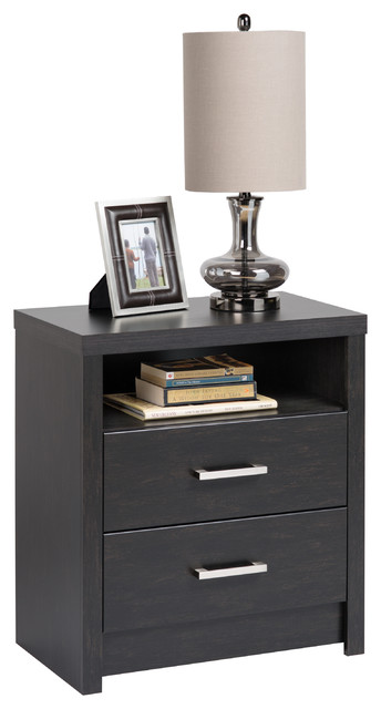 District two drawer tall nightstand contemporary for Tall modern nightstands