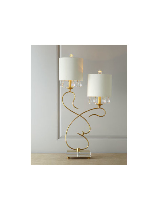 "John-Richard Collection - John-Richard Collection ""Elegant Excellence"" Buffet Lamp - The beauty of a sculpture, the elegance of crystal droplets, the practicality of light—this bi-level, two-armed buffet lamp has it all. From the John-Richard Collection. Handcrafted of brass with crystal accent droplets and an acrylic foot. Silk..."