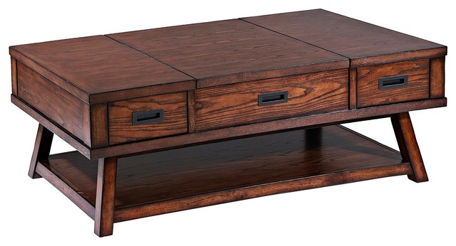Klaussner Elin Rubberwood 3 Drawer Cocktail Table Asian Dining Tables
