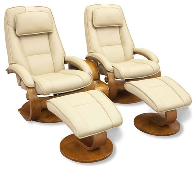 Oslo Collection Cobblestone Tan Leather Double Swivel Recliner With Ottoman