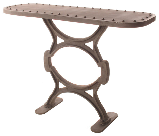 Textile Mill Riveted-Top Cast Iron Console industrial-console-tables