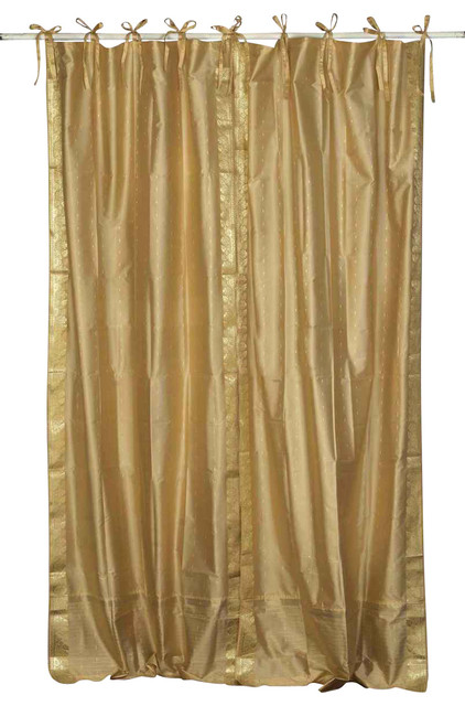 Pair of Golden Tie Top Sheer Sari Curtains, 80 X 96 In. traditional-curtains