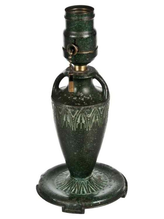 Boudoir Lamp Base - Vintage Moe Bridges metal art deco lamp base with rustic green enamel coating.