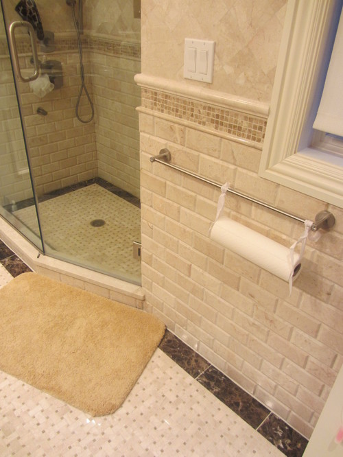 Love the subway tile is it travertine or porcelain thanks Bathroom tile ideas menards
