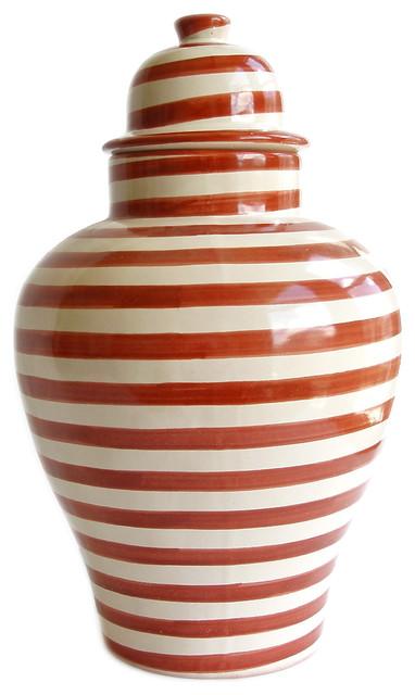 Burnt Orange Striped Tibor Contemporary Accessories And Decor