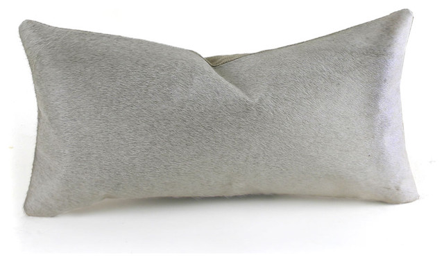 Cowhide and Linen Pillow, Off-White, 9
