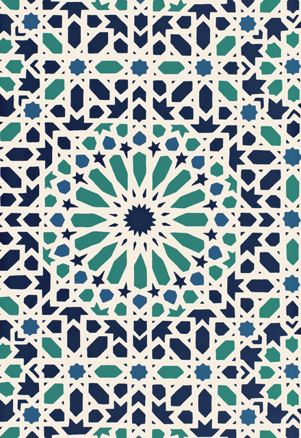 Nasrid palace mosaic eclectic wallpaper by f for Moroccan style wallpaper