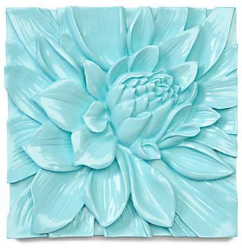 Lotus Flower Plaque - Aquamarine modern-artwork