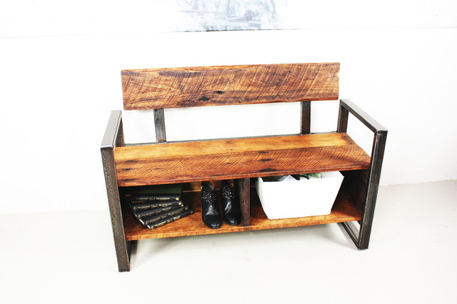 reclaimed wood storage bench - Industrial - Benches - by what WE make
