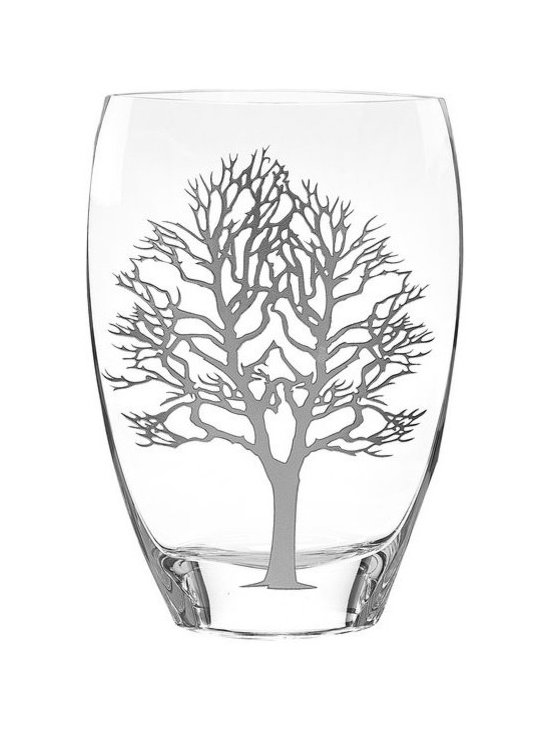 Imported - Tree of Life Design 12 Inch Vase with Genuine Silver Inlayed - Tree of life design vase has genuine silver leaf inlayed in the pattern.