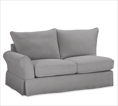 PB Comfort Slipcovered Left Love Seat, knife-Edge Cushions, Down-Blend Wrap Cush traditional-decorative-pillows