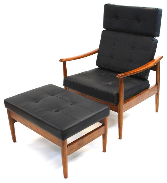 Mid century style lounge set black leather contemporary for Century furniture chaise lounge