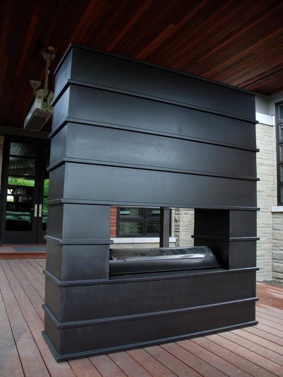 Fireplaces - Custom designed, hand forged, wrought iron outdoor fireplace.