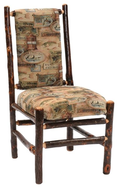Traditional Upholstered Dining Chairs ~ Hickory upholstered log side chair southwest