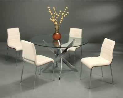 Pastel Furniture Fahrenheit 5 Piece Glass Top Dining Table Set with Fort James C modern-dining-sets