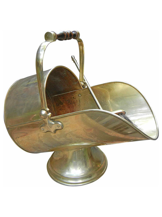 Brass Hod/Ash Bucket with Broom - Brass Ash Hod.  Also works as a magazine or wood holder.