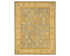 Handmade Oushak Slate Blue/ Ivory Wool Rug eclectic rugs