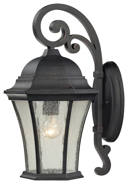 Elk Lighting 45051/1 Wellington Park 1 Light Outdoor Sconce in Weathered Charcoa modern-outdoor-wall-lights-and-sconces
