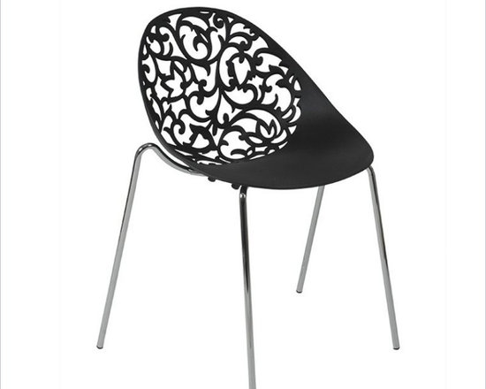 Eurostyle Kaila Side Chair in Black/Chrome - Kaila Stacking Chair is the perfect choice to improve any designed dining environment. It features chromed steel base and black finished seat and back. Decorative flowery cutouts and sleek look make this dining chair the ideal solution to enhance any designed dining environment.
