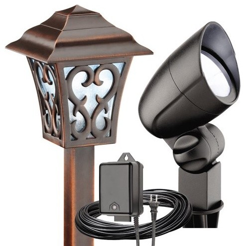 malibu 6 piece led coach floodlight kit contemporary outdoor. Black Bedroom Furniture Sets. Home Design Ideas