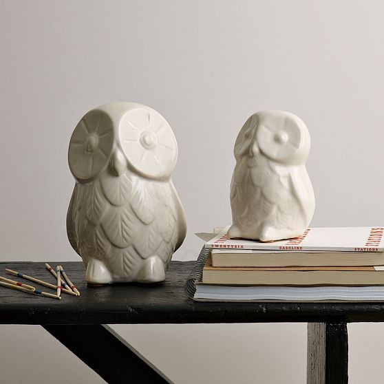 Ceramic Owls modern-fireplace-accessories