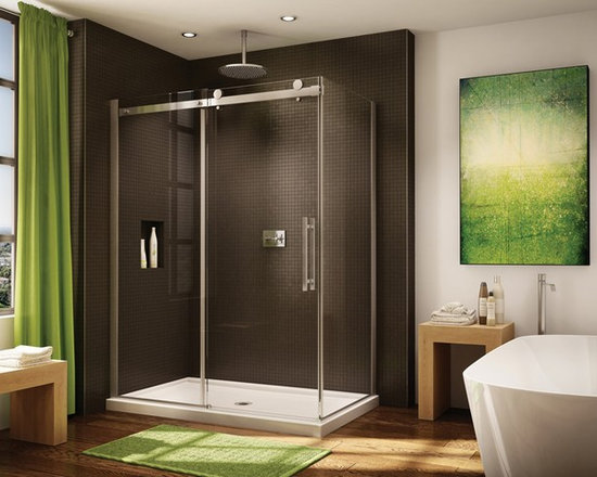 "Fleurco Novara In-Line 57"" - 58"" Door and Panel with Return Panel Closes Against - Easy rolling system enables the door to slide smoothly and effortlesly"