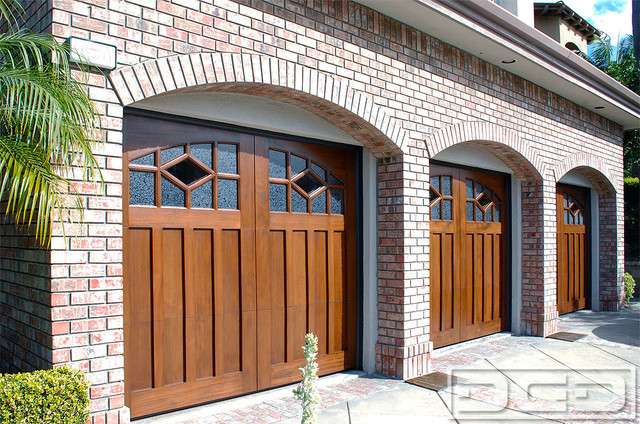 Arts crafts style custom wood garage doors for an orange for Arts and crafts garage
