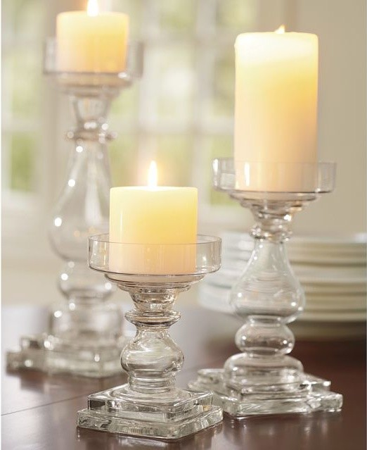 Clear Glass Square Base Pillar Holders traditional-candles-and-candleholders