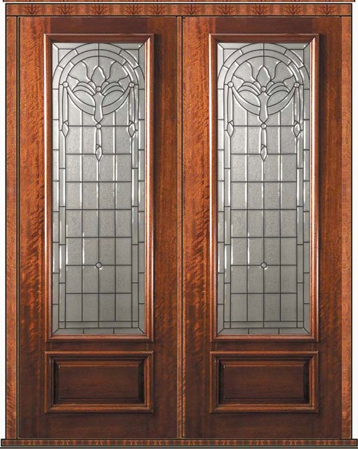 Prehung double door 96 wood mahogany palacio 1 panel 3 4 for Double front doors with glass